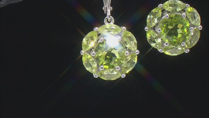 Green Manchurian Peridot™ Rhodium Over Sterling Silver Earrings. 3.05ctw