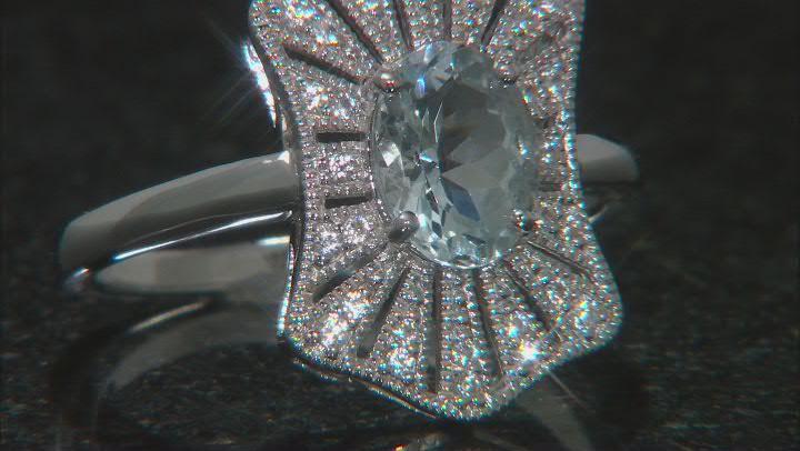 Blue Aquamarine Rhodium Over Sterling Silver Ring 1.04ctw