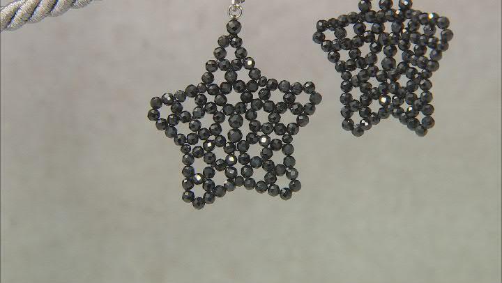 Black Spinel Rhodium Over Sterling Silver Star Earrings