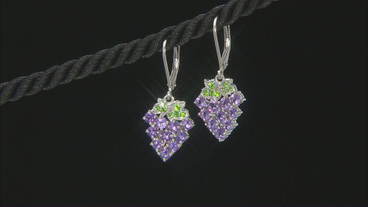Purple African Amethyst Rhodium Over Sterling Silver Grape Earrings. 1.99ctw
