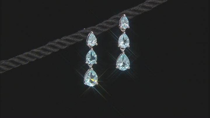 Blue Topaz Rhodium Over Sterling Silver Dangle Earrings 4.67ctw
