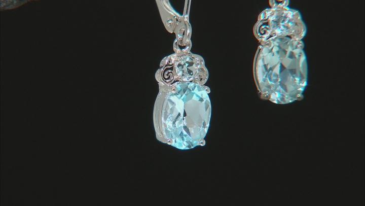 Blue Topaz Rhodium Over Sterling Silver Dangle Earrings 2.82ctw