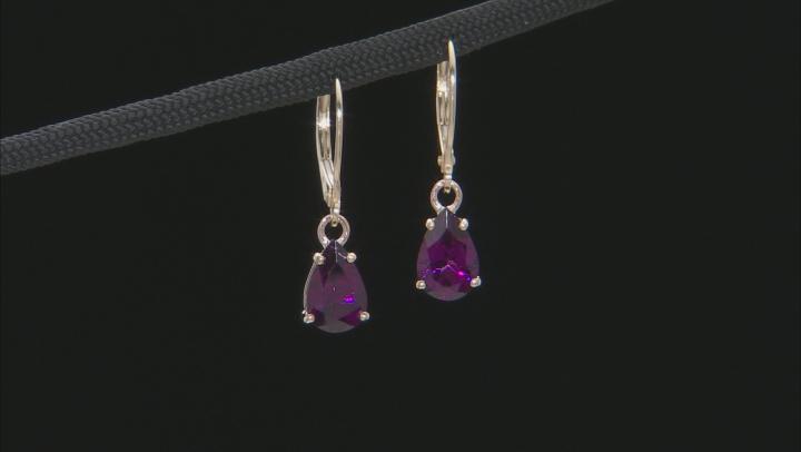 Grape Color Garnet 10k Yellow Gold Earrings 2.64ctw
