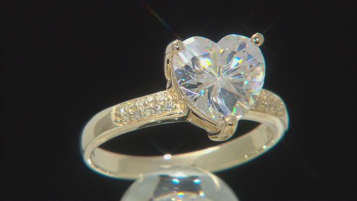 White  Fabulite Strontium Titanate 10k Yellow Gold Ring 4.35ctw