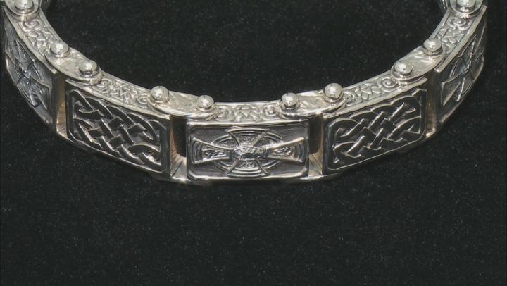 Sterling Silver Oxidized 18.50MM Celtic Cross Bracelet