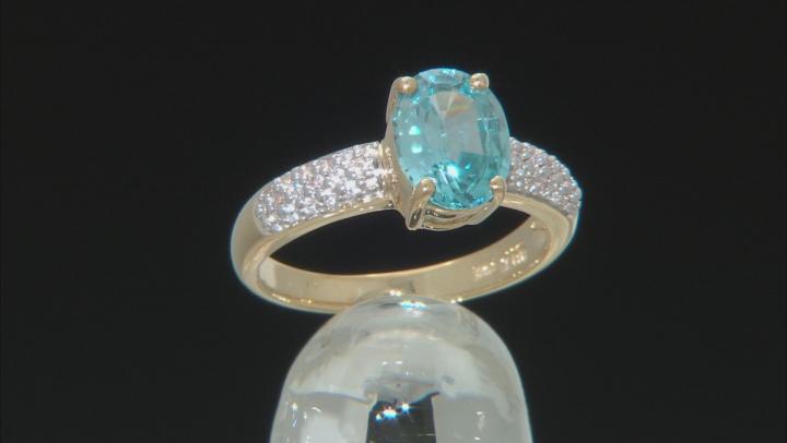Blue Zircon 10k Yellow Gold Ring 2.23ctw