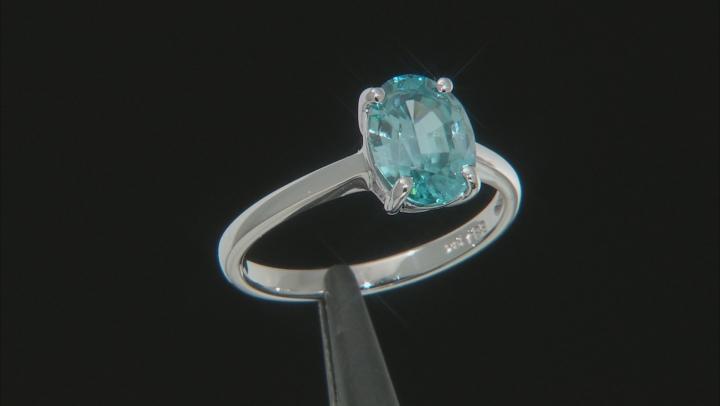 Blue Zircon 10k White Gold Ring 2.05ct