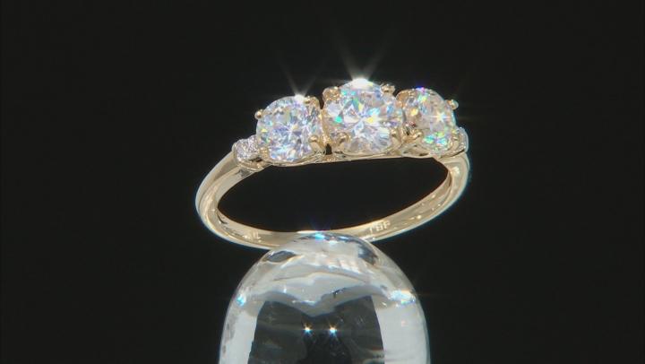 White Fabulite Strontium Titanate And White Zircon 10k Yellow Gold Ring 2.53ctw