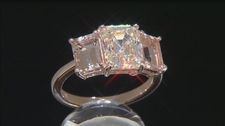 White Fabulite Strontium Titatnate And Cor-De-Rosa Morganite™ 10k Rose Gold Ring 4.63ctw