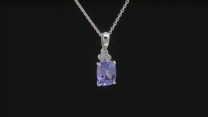 Blue tanzanite platinum pendant with chain 2.29ctw