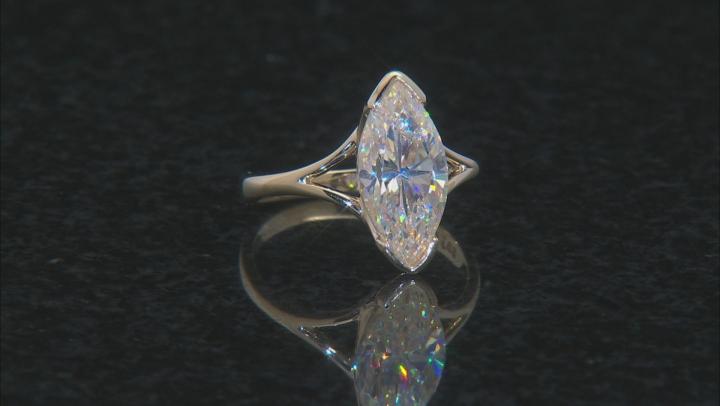 White Fabulite Strontium Titanate 10k Yellow Gold Ring 3.52ct