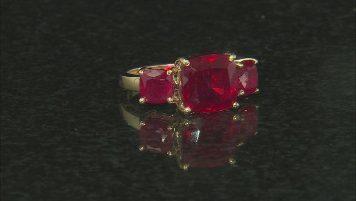 Red Mahaleo®  Ruby 10k Yellow Gold 3-Stone Ring 7.50ctw