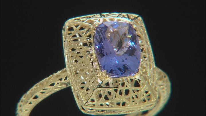 Blue Tanzanite 10k Yellow Gold Ring 1.14ct.