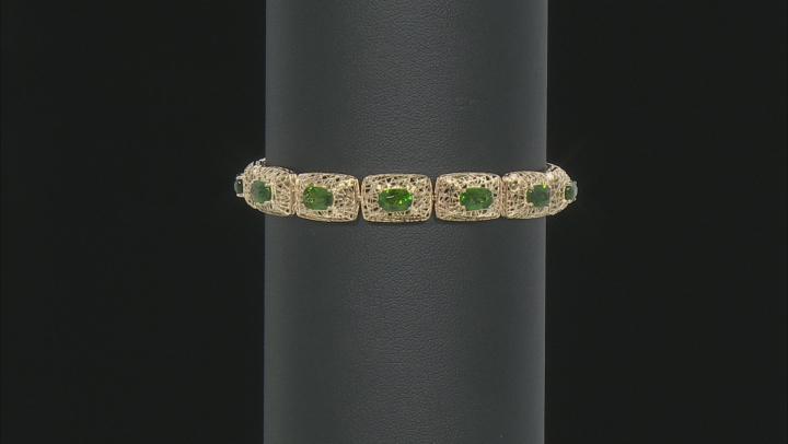 Green Chrome Diopside 10k Yellow Gold Bracelet 6.39ctw