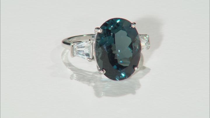 London Blue Topaz Rhodium Over 14k White Gold Ring 10.17ctw