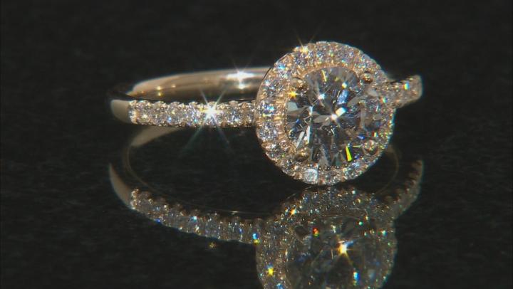 White Lab-Grown Diamond 14K Yellow Gold Halo Ring 1.29ctw