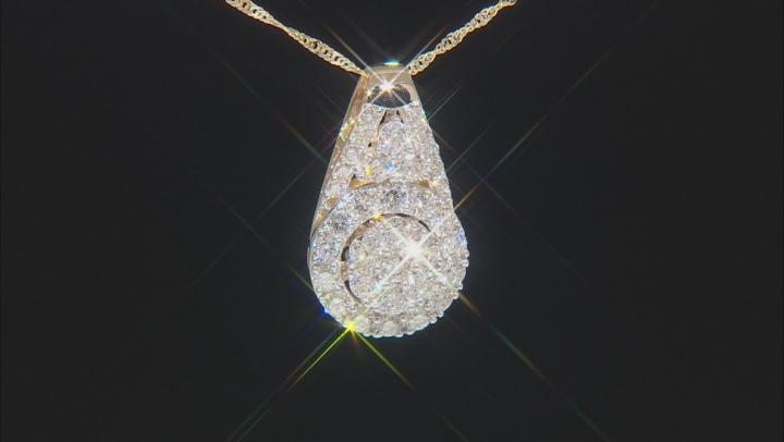White Lab-Grown Diamond 14K Yellow Gold Pendant With Chain 1.50ctw