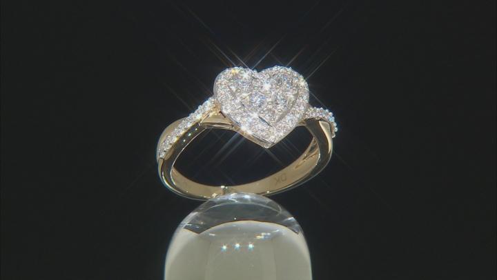 White Lab-Grown Diamond 14K Yellow Gold Ring .59ctw