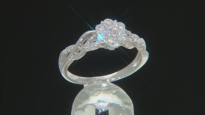 White Lab-Grown Diamond 14K White Gold Ring 0.56ctw