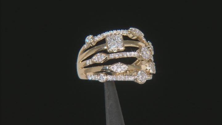 White Lab-Grown Diamond 14K Yellow Gold Ring .52ctw