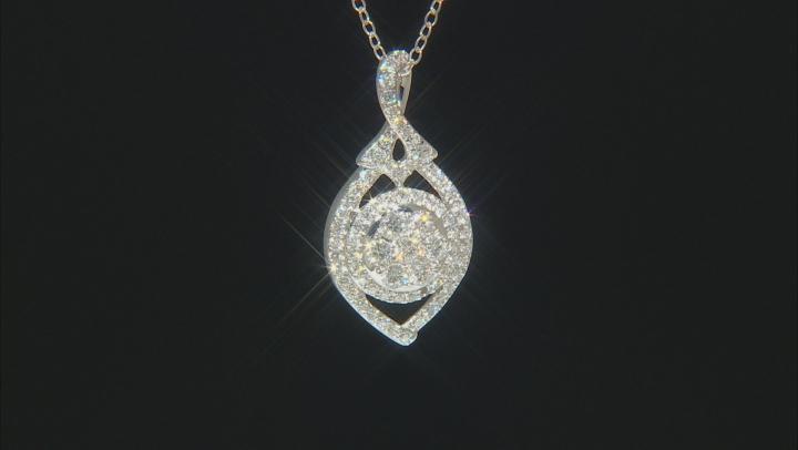 White Lab-Grown Diamond 14K White Gold Pendant With Chain .75ctw