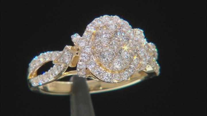 White Lab-Grown Diamond 14K Yellow Gold Ring 0.95ctw