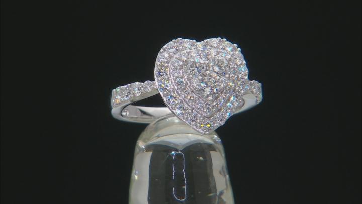White Lab-Grown Diamond 14K White Gold Heart Cluster Ring 1.20ctw