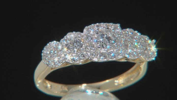 White Lab-Grown Diamond 14K Yellow Gold 5-Stone Halo Ring 0.95ctw