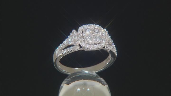 White Lab-Grown Diamond 14K White Gold Cluster Ring 1.01ctw