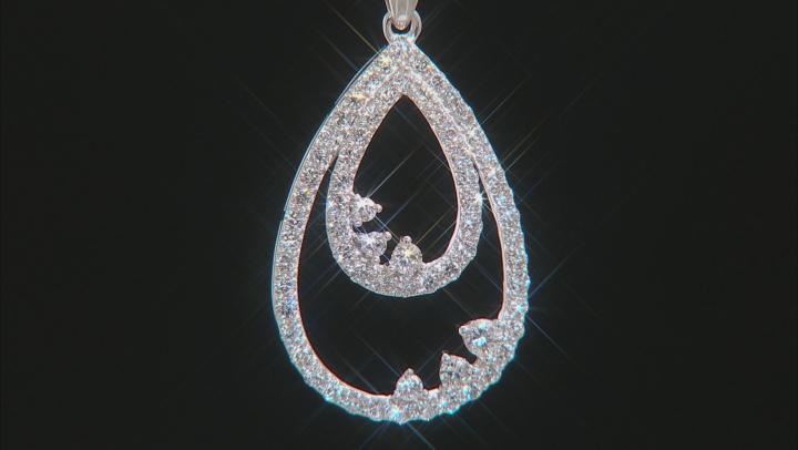 "White Lab-Grown Diamond 14K White Gold Pendant With An 18"" Singapore Chain 0.86ctw"