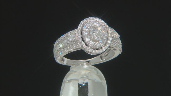 White Lab-Grown Diamond 14K White Gold Halo Ring