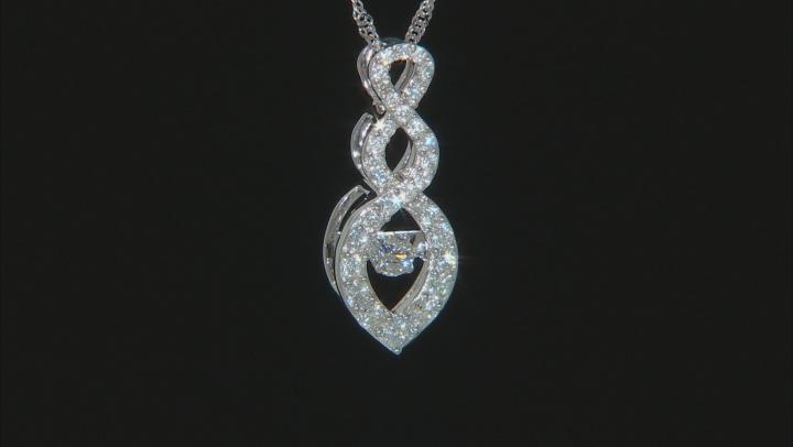 White Lab-Grown Diamond 14K White Gold Pendant With Chain 0.50ctw