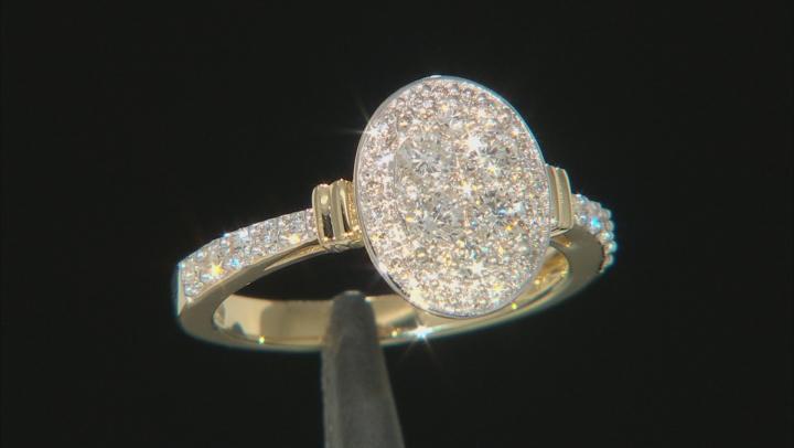 White Lab-Grown Diamond 14K Yellow Gold Cluster Ring 0.75ctw