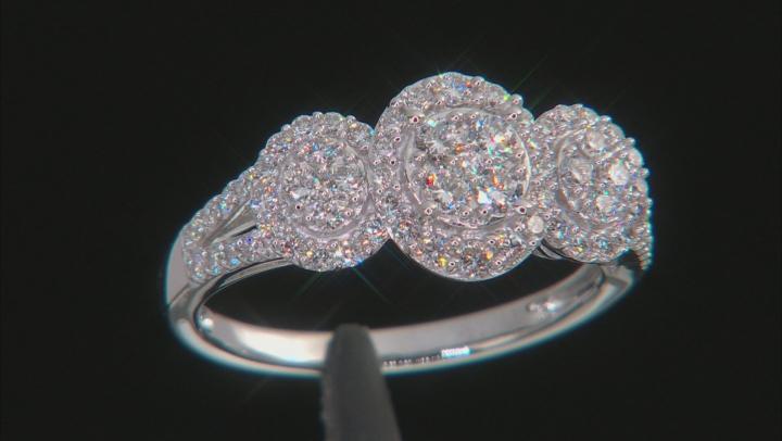 White Lab-Grown Diamond 14K White Gold Cluster Ring 0.73ctw