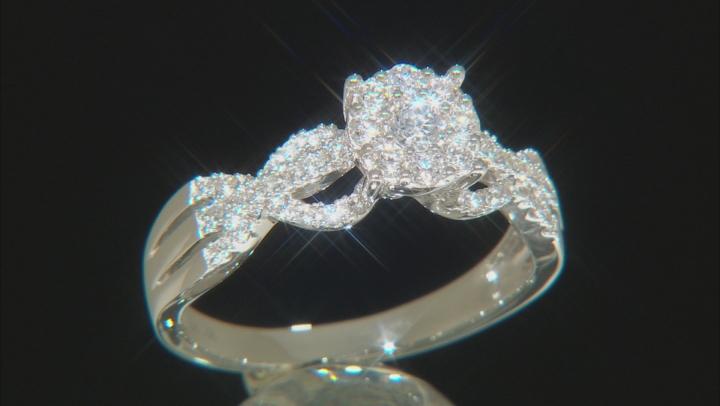 White Lab-Grown Diamond 14K White Gold Cluster Ring 0.50ctw