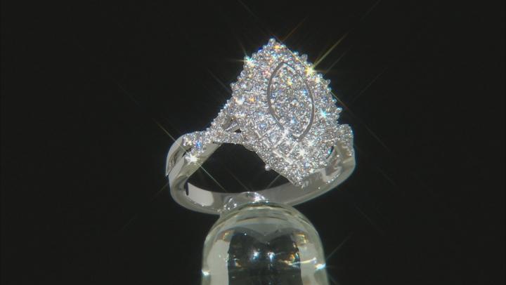 White Lab-Grown Diamond 14K White Gold Cluster Ring 0.75ctw