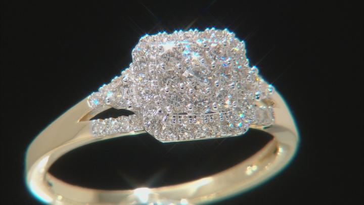 White Lab-Grown Diamond 14K Yellow Gold Ring 0.48ctw