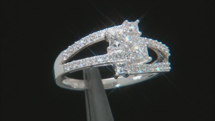 White Lab-Grown Diamond 14K White Gold Open Design Ring 0.82ctw