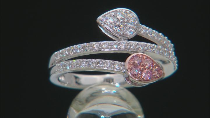 Pink And White Lab-Grown Diamond 14K White Gold Ring 0.53ctw