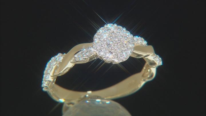 White Lab-Grown Diamond 14K Yellow Gold Cluster Ring 0.43ctw