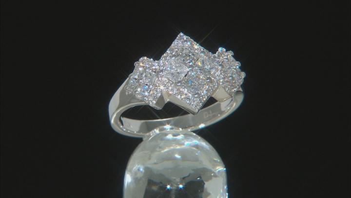 White Lab-Grown Diamond 14K White Gold Cluster Ring 1.35ctw