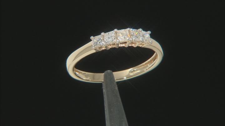 White Lab-Grown Diamond 14k Yellow Gold Band Ring 0.59ctw