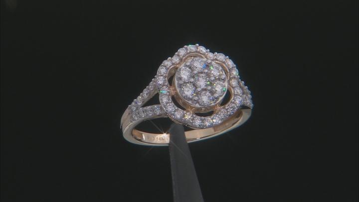 White Lab-Grown Diamond 14k Yellow Gold Flower Cluster Ring 1.00ctw