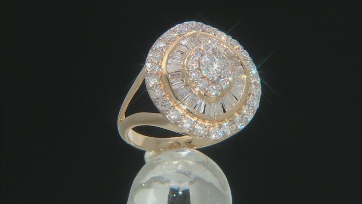 White Lab-Grown Diamond 14k Yellow Gold Statement Ring 2.00ctw