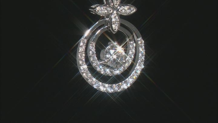 """White Lab-Grown Diamond 14k White Gold Pendant With 18"""" Singapore Chain 0.70ctw"""