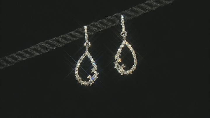 White Lab-Grown Diamond 14k White Gold Teardrop Dangle Earrings 0.50ctw