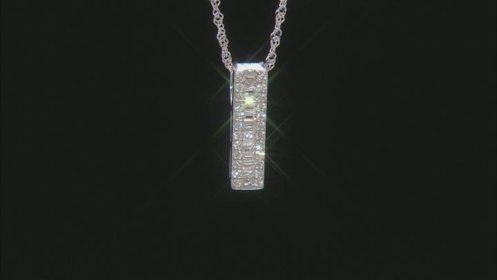 "White Lab-Grown Diamond 14k White Gold Slide Pendant With 18"" Singapore Chain 0.28ctw"