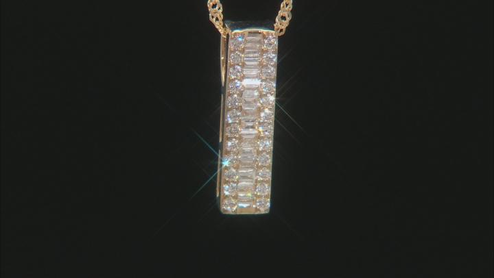 "White Lab-Grown Diamond 14k Yellow Gold Slide Pendant With 18"" Singapore Chain 0.28ctw"