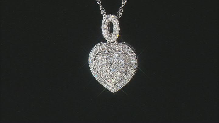 "White Lab-Grown Diamond 14k White Gold Heart Pendant With 18"" Singapore Chain 0.60ctw"