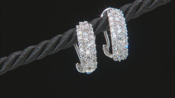 White Lab-Grown Diamond 14k White Gold J-Hoop Earrings 1.55ctw